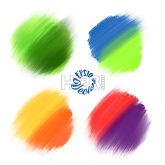 Colored Vector paint brushes (Hebstreits) Tags: abstract art artistic backdrop background brush circle circles collection color colorful creative decoration decorative design element gold grunge illustration ink isolated label paint paper pattern round set shape splash splat stain stroke texture vector wallpaper water watercolor white