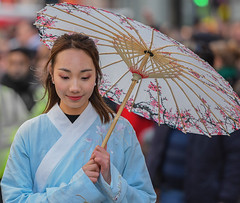 Chinese New Year Celebrations 2018 # 2 (Aubrey Stoll) Tags: london england uk chinese new year 2018 strand west end coustume woman procession unbrella parasol costume gown asia orient carnival gb dog