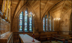 Lichfield cathedral chapel (G. Postlethwaite esq.) Tags: litchfield sonya7mkii sonyalphadslr staffordshire altar arches benches candles cathedral chapel fullframe lights mirrorless photoborder stainedglass windows emount
