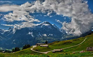 The mighty Eiger , The Finsteraarhorn and the Bussalp. (Grindelwald, Canton of Bern, Switzerland. ).