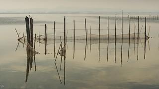 Redes de pesca en la Gola, Valencia.