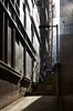 Dec 27, 2017 (pavelkhurlapov) Tags: passage stairs sunlight person metal leadinglines reflections scaffold bamboo light shadows streetphotography lines architecture mask lamppost