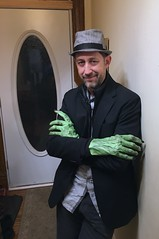 handyman (Mr.  Mark) Tags: halloween handyman candyman green monster hands greenthumb costume creepy scary hat self me stand fingers stock photo markboucher