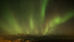 Storm in the Stars (Tracey Whitefoot) Tags: 2018 tracey whitefoot norway lofoten islands lofotens ramberg aurora borealis northern lights green storm stars january winter