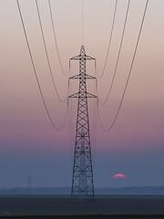 Electric sunset (Richard Holding) Tags: architecture electricity energy eure grid landscape ligne m43 normandie normandy olympus omd paysage power tension électricité énergie