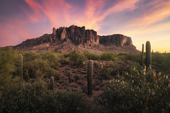 Iridescence (bryanchong.photo) Tags: iridescence superstition mountains mountain peak lost dutchman state park arizona landscape color sky clouds sunset saguaro cactus sony a7rii 1635 wide angle pink
