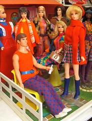 BIRTHDAY PRESENTS Part Two (ModBarbieLover) Tags: busy 1972 barbie ken walk lively red blue house doll mattel mod 1971 scarf knit jacquard talking toys