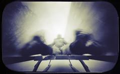 Astronaut (batuda) Tags: pinhole obscura stenope lochkamera analog analogue tin altoids mediumformat 6x9 kodak polymax d76 11 motion movement longexposure lowangle wideangle wide human silhouette color colour sledge winter snow house architecture tree trees kranto alėja kaunas lithuania lietuva miglė building kid child neodymium barkleys