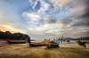 Long tail boats at Patong Beach, Thailand (` Toshio ') Tags: toshio patong patongbeach thailand boat longtailboat longtail clouds beach sand asia andamansea sea canon canon7d