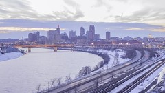 Wide Twilight Timelapse from Dayton's Bluff (Sam Wagner Photography) Tags: wide angle twilight blue hour st paul twin cities downtown cityscape overlook city skyline architecture modern classic long exposure traffic train trails transit transportation mighty mississippi river gold cloudy winter dramatic dusk minnesota midwest america 4k uhd time lapse timelapse motion skyscrapers