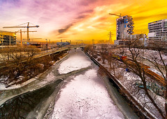 Cranes on The River (A Great Capture) Tags: panorama don valley frozen ice covered construction sunset agreatcapture agc wwwagreatcapturecom adjm ash2276 ashleylduffus ald mobilejay jamesmitchell toronto on ontario canada canadian photographer northamerica torontoexplore winter l'hiver 2018 rebel t5i efs1018mm 10mm wideanglecity downtown lights urban cold snow weather colours colors colourful colorful light sun sunny sunshine sunlight atardecercityscape urbanscape eos digital dslr lens canon skyline towers tower scenery scenic sky himmel ciel natural overcast cloudy outdoor outdoors vibrant cheerful vivid bright explorethedonvalley cranes
