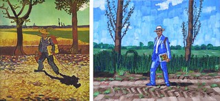 The Painter on His Way to Work by Van Gogh 1888 and Anthony D. Padgett 2017