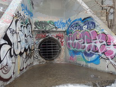 Looking In (eileenmak) Tags: calgary bowriver graffiti ice water