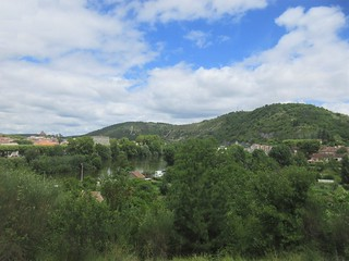 Hills and glimpse of the River Lot, departing Cahors, France