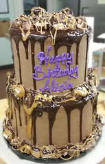 snickers (backhomebakerytx) Tags: birthday cake creative two tiers snickers chocolate caramel fudge drip