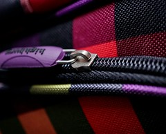 Macro Mondays: fastener (quietpurplehaze07) Tags: macromondays fastener red check weekendbag bag zip purple