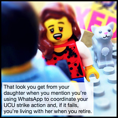That look you get from your daughter... (followthethings.com) Tags: ucu pensions strike exeter lego whatsapp retirement daughter look surprise disappointment support mobilephone cat university