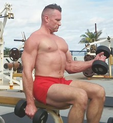 bicep curls (ddman_70) Tags: shirtless workout outdoor gym biceps pecs shortshorts