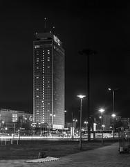 Berlin, Germany. (wojszyca) Tags: intrepid camera 4x5 largeformat fujinon w 210mm bergger pancro 400 hc110 131 b 9min epson v800 night longexposure city urban architecture highrise socialist modernism berlin alexplatz