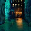 The Stranger (colinpoe) Tags: night nightime freemanalley mediumformat 6x6 ektar100 grafitti mamiyac330 c330f alley urban longexposure c330 tlr nyc newyorkcity wet rainy mamiyac330f street rain reflections 120