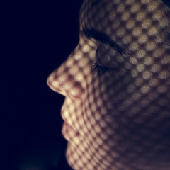 Light patterns (donnicky) Tags: mariiabobrovskaia closeup closedeyes face girl head headshot humanbodypart indoors light oneperson onlywomen pattern portrait publicsec shadow sideview lettherebelight flickrfriday