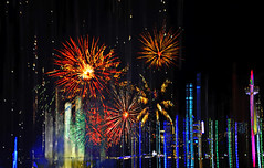 Fireworks over the Falls (Paul B0udreau) Tags: winter paulboudreauphotography ontario niagara canada nikkor1855mm photoshop d5100 nikon nikond5100 raw layer lights nighttime niagarafalls fireworks winterfestivaloflights people skylon tower motion