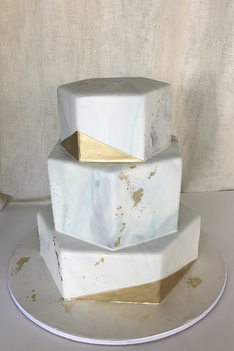 Hexagon Marbled Fondant Gold Wedding Cake
