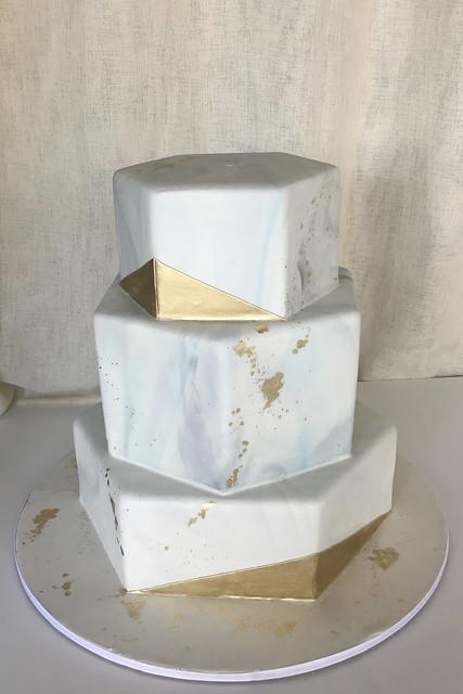 Hexagon Marbled Fondant Gold Wedding Cake