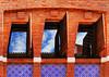 Modernist windows (chrisk8800) Tags: modernist windows shutter bricks ceramic reflection sky clouds barcelona curves lines texture patterns structure composition