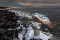 Cold water 寒水 (kaising_fung) Tags: boat capsized icy ice winter colors seashore