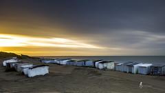 Pensif... (pierrelouis.boniface) Tags: sunset clouds sun soleil couchédesoleil gold golden cabanes plage sable beach france côtedopale canon longexposures