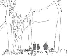 Visiting Grave, Main Cemetery, Karlsruhe, February 2018 (stevefaradaysketches) Tags: graves cemetery hauptfriedhof karlsruhe urbansketch inkdrawing art penandinksketch fineliner trees