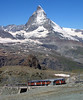 Gornergrat Bahn, Switzerland - Service near the Summit Station with the Matterhorn in the distance on the 10th July 2008 (trained_4_life) Tags: switzerland valais gornergratbahn gornergratrailway ggb matterhorn rackrailway cograilway