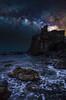 (Joseph Burns 32) Tags: sea mediterranean water castle night sicily italy acicastello stars milkyway