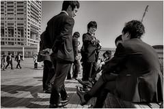 Japanese Salary Men (Où est mon coeur) Tags: japaninbw tokyo japan odaiba salary men office workers nikon d50 black white