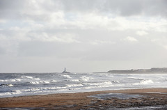 View to St Marys lighthouse in an easterly wind (DavidWF2009) Tags: northumberland blyth sea beach lowtide waves stmaryslighthouse