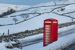 Cold Caller II (calderdalefoto) Tags: swaledale england winter yorkshire dales nationalpark red telephone box snow