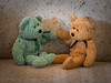 Fist Bump (HTBT) (13skies) Tags: couchbears stories fistbump friends pals comrades buddies brothers bears teddybeartuesday sitting funny sharing laughter smiles happiness sonya99 windowlight couch togetherness life mischief trouble sneaky jokes attitude htbt happyteddybeartuesday love