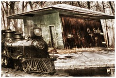Current snap of dilapidated rail freight depot digitally wedded to historic locomotive photo of yore. (Fotofricassee) Tags: railroad locomotive freight snow vintage new old tracks shed depot