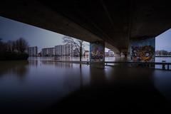 Dans l'eau jusqu'au cou (Nicolas Hoizey) Tags: 10stops 1024mm draveil essonne europe france fujifilm fujifilmxt2 fujinon fujinonxf1024mmf40rois iledefrance nd1000 nisi pontdela1rearméefrançaise portefiltresystème100mmv5 xt2 bridge crue eau filter filtre fleuve flood graffiti pont reflection reflet rive river shore water