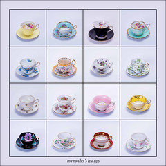 my mother's teacups 2 (montrealmaggie) Tags: cups china tea teacup saucer