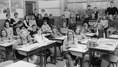 Class photo (theirhistory) Tags: child kid boy girl desk classroom wellies books jumper teacher
