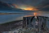 End of a lovely day.... (Karel Warburg) Tags: zeeuwsvlaanderen strandgroede leereverse09ndfilter westerschelde northsea poles beach clouds