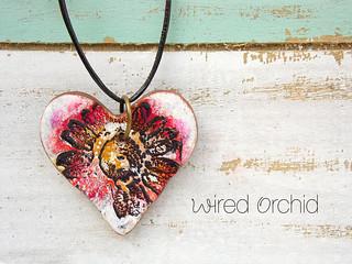 Flower wildflower red heart pendant 2