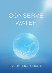 Conserve Water Poster (chiaralily) Tags: water conservation conserve poster chiaralily photoshop blue drop sphere obsidiandawn brush environment environmental responsible