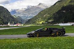 Batman in Alps (MonacoFreak) Tags: supercarownerscircle andermatt swiss switzerland alps lamborghini aventador sv roadster airfield