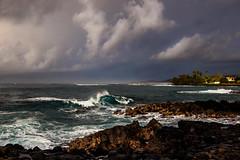 Stormy Morning, Poipu, Kauai. (drpeterrath) Tags: canon eos5dr 5dsr landscape seascape water ocean pacific color outdoor waves sunrise clouds rocks kauai hawaii poipu