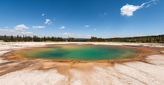 The Colors of Yellowstone - Explore (Ron Drew) Tags: nikon d800 yellowstonenationalpark grandprismatic midwaygeyserbasin park wyoming usa nationalpark summer clouds trees landscape outdoors hotspring color water wideangle 1424mm
