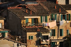 Laundry drying in the warm Tuscan sun - 'Contrada dell'Onda' district, Siena, Italy. (edk7) Tags: nikond300 nikonnikkor18200mm13556gedifafsvrdx edk7 2008 italy italia tuscany toscana siena contradadellondadistrict contradadellonda domestic residential brick stucco architecture building oldstructure house apartment old city cityscape urban centre shutter rooftile ceramic clothing clothes clothesline drying wall shadow gutter evestrough
