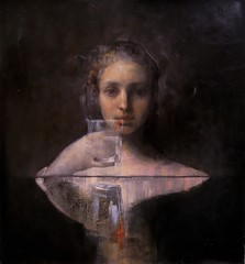 Maria Kreyn — Event Horizon, 2010. Painting: oil on canvas, 24 x 24 in.. Private collection. Female PortraitsMysticalContemporary Figurative Painting (ArtAppreciated) Tags: fineart painting blogs tumblr artblogs artappreciated artoftheday artofdarkness artofdarknessco artofdarknessblog